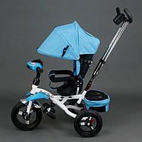 Трехколёсный детский велосипед Best Trike 6595 голубой с надувными колесами