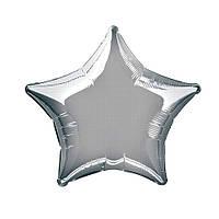 Фольгированные воздушные шары FLEXMETAL Испания, модель 302500P, форма:звезда серебристая мини без рисунка, 9