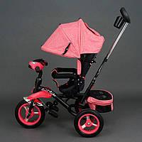 Трехколёсный детский велосипед Best Trike 6595 розовый с надувными колесами