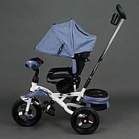 Трехколёсный детский велосипед Best Trike 6595 серый с надувными колесами