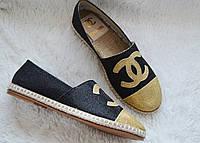 Эспадрильи Chanel, цвет черный/золото