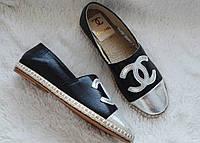 Эспадрильи Chanel, цвет черный/серебро