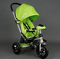 Трехколёсный велосипед колясочного типа Best Trike 698 салатовый, надувные колеса