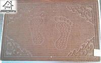 Тканевый коврик Велюр Лапы 80*50 см (коричневый)