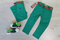 Узкие зеленые штаны для мальчика Турция р. 3-5 лет