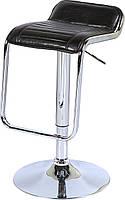Барный стул хромированный В-05 сиденье блестящий черный кожзам