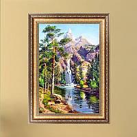"""Картина для рисования камнями Diamond painting Алмазная вышивка """"Горный ручей"""" частичная, фото 1"""