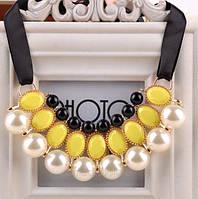 Ожерелье Привлекательность желтое/бижутерия/цвет ленты черный/цвет искусственных камней желтый, белый и черный