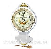 Класичні настінні білі годинники з маятником у стилі Прованс