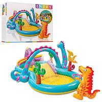 Игровой центр 57135 Планета динозавров, с горкой, душем, мячиками и надувными игрушками