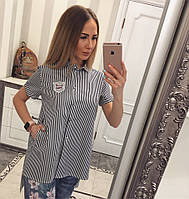 Стильная рубашка в полоску с карманами