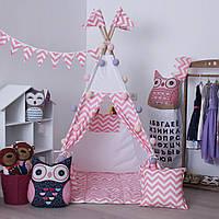 Вигвам Зигзаг розовый. Детская игровая палатка, домик