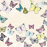 "Салфетки бумажные декоративные "" Butterfly Cream  """