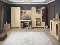 Детская комната Нефертити с шкафом для одежды,шкафом с баром, письменный стол с надставкой,