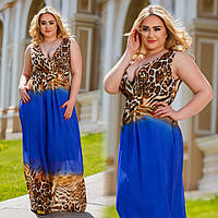 """Элегантное длинное шифоновое платье в больших размерах Бат-54 """"Афина Фэнтези Лео"""" в расцветках"""