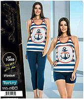 """Пижама женская комплект тройка майка+шорты+бриджи """"Lady Lingerie"""" Турция"""