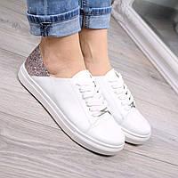 Слипоны женские Urban на шнурках белый + пудра, белые кроссовки, белые кроссовки