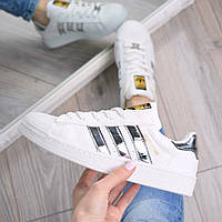Кроссовки женские Adidas Superstar белые с серебром, белые кроссовки