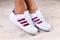2521-1 Женские кроссовки, белые, кожаные, с неоновыми вставками цвета фуксии, на шнурках, на белой подошве  Р
