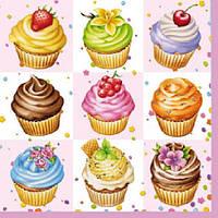 """Салфетки бумажные декоративные """"  Cupcakes Square Pink  """""""