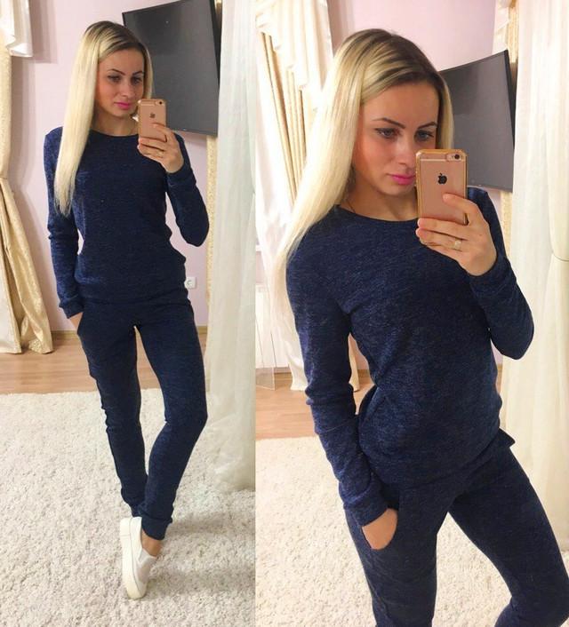 b4fd5f39f5e Стильный женский спортивный костюм синий — купить недорого в ...