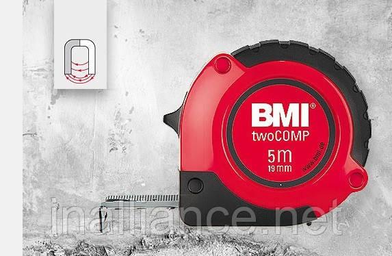 Рулетка вимірювальна 5 метрів магнітна twoCOMP BMI 472541021M