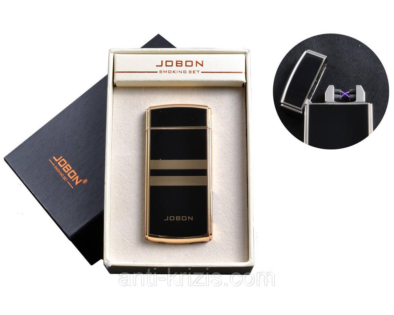 USB зажигалка с двумя перекрестными молниями и счетчиком использования Jobon (Электроимпульсная) №4780-1