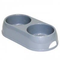 Moderna МОДЕРНА ЭКО двойная миска для собак и кошек, 2х570 мл, d-12 см, светло-серый