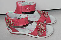 Детские босоножки на девочку розовые кожаные р 26,28,29