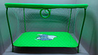 """Салатовый слоник: Манеж усиленный детский игровой KinderBox """" ЛЮКС"""" с крупной сеткой"""