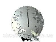 """Авангардные настенные часы с маятником """"Бабочка и цветы"""" металлические"""