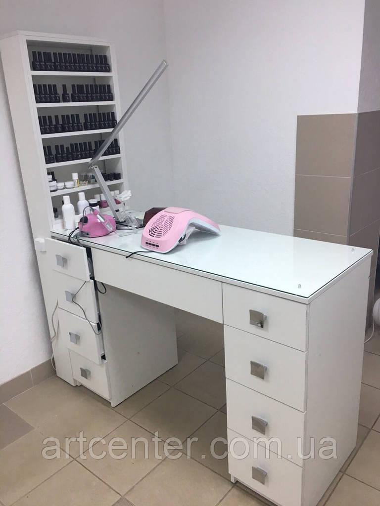 Маникюрный стол профессиональный двухтумбовый, витрина для лаков с подсветкой, стол для маникюра белый