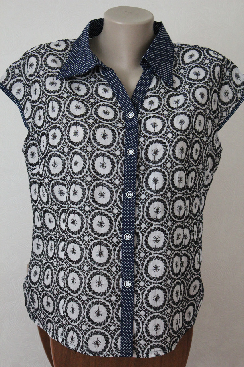Блузка летняя с черной вышивкой - Elenka - женская одежда оптом: юбки и сарафаны женские, кофты женские, блузки и туники женские в Хмельницком