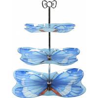 Фруктовница 3-х ярусная Бабочка голубая