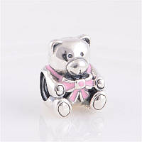 Шарм Pandora Мишка с розовой лентой, Пандора серебро