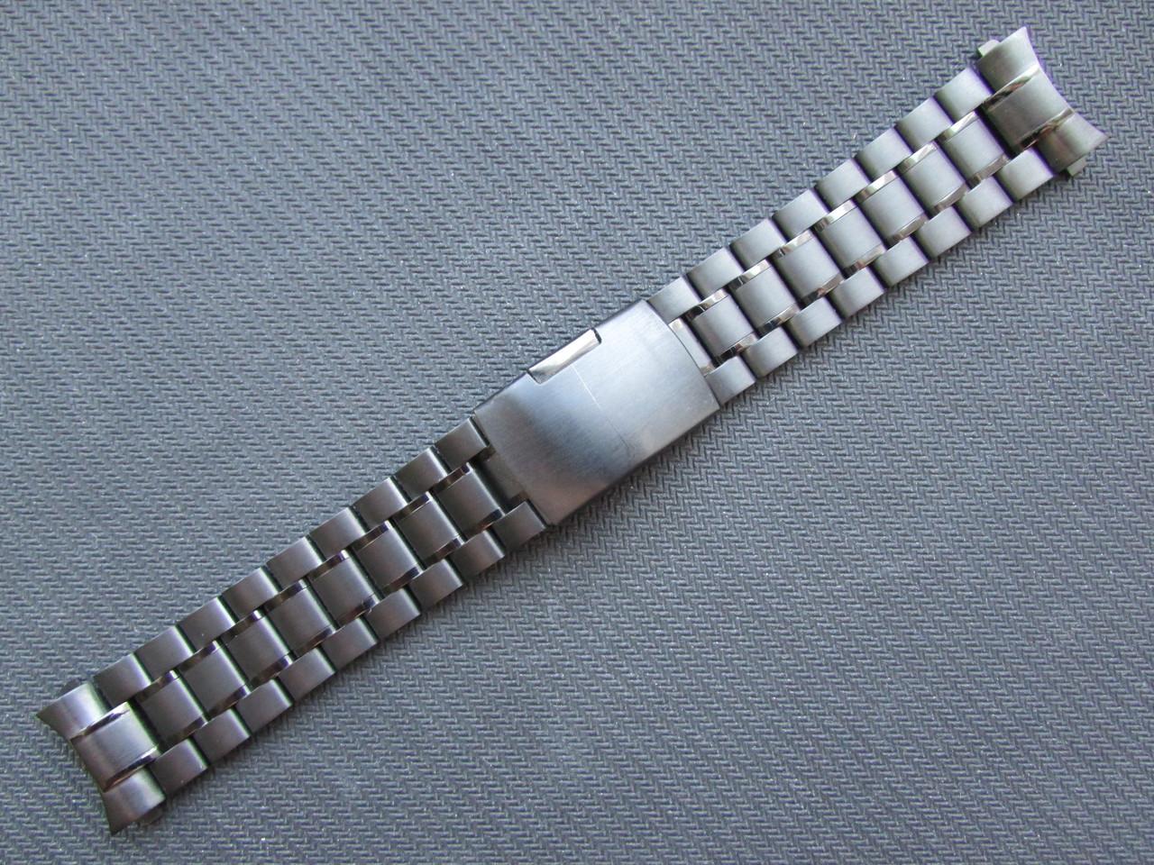 Браслет для часов из нержавеющей стали, черный, литой. Заокругленный. 22-й размер.