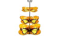 Фруктовница 3-х ярусная Бабочка желтая