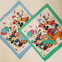 Детские носовые платочки  микки 28х28 хлопок 10 шт в уп