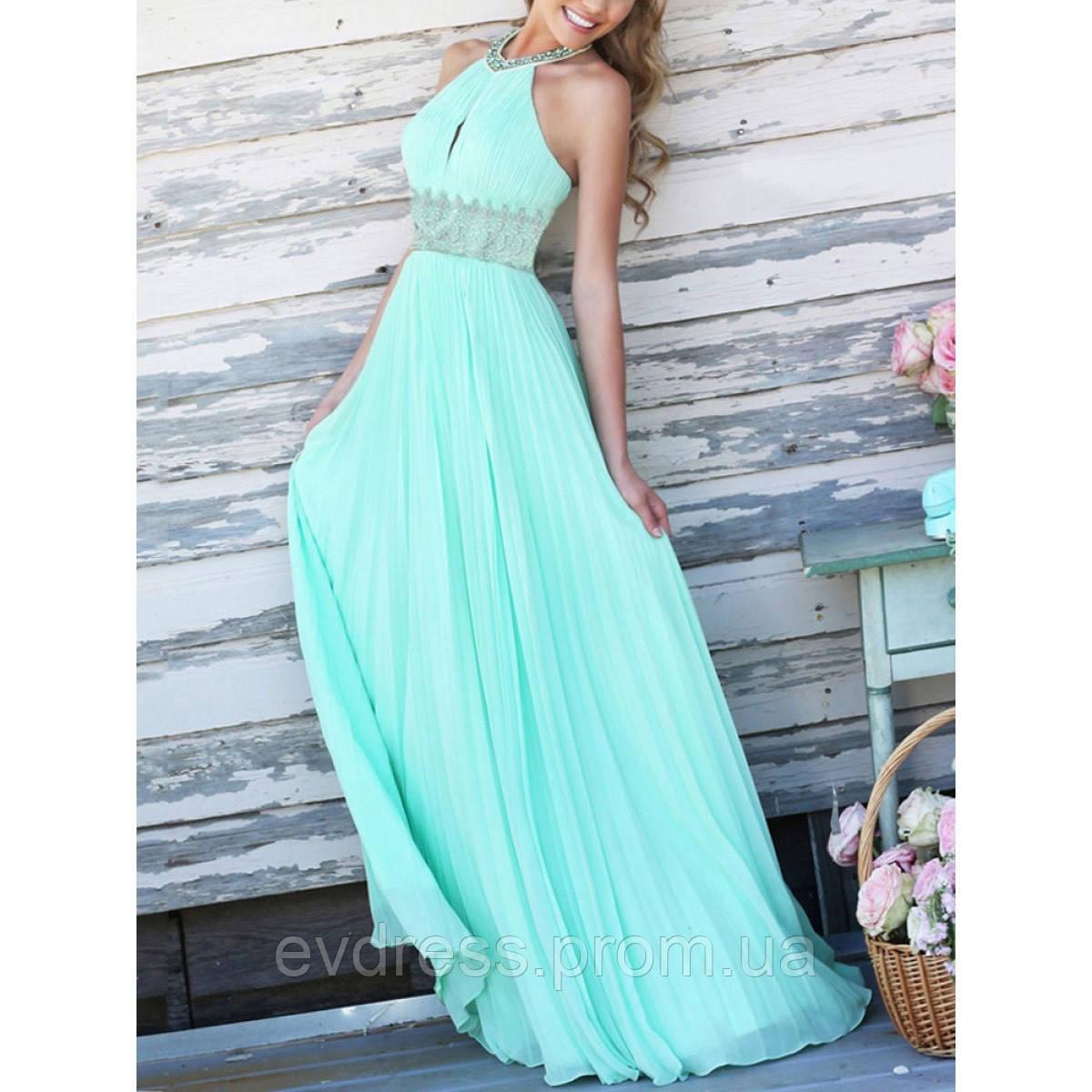 9fb7964557b Вечерние длинные платья на выпускной 11 класс нежно мятного цвета DT-137305