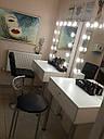 Стол гримерный для макияжа на железных ножках, зеркало без рамы с подсветкой, фото 5