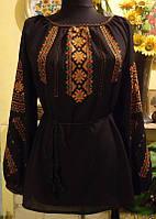 Жіноча вишита сорочка  на чорному шифоні вишивка шовком ручної роботи розміру .