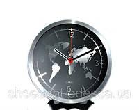 """Настенные часы для кабинета """"Карта мира"""" металлические"""