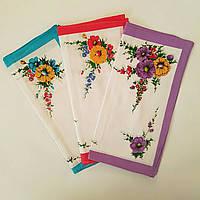 Носовой платок женский букеты 28х28 хлопок 12 шт в упаковке