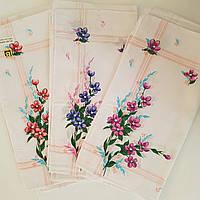 Носовые платочки цветы 10 шт в уп хлопок 28х28