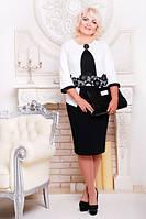 Платье женское батал Цветенье лотоса белый+черный 52, 54, 56, 58, 60 размер