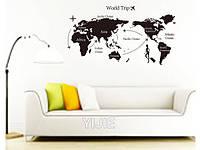 """Наклейка на стену, виниловые наклейки, украшения стены наклейки в офис """"карта мира"""" 80*140см (лист 60*90см)"""