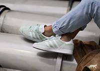 Женские натуральные мятные кроссовки Adidas Gazelle  Ice Mint/White