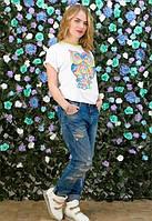 Женская футболка с ярким рисунком совы у-t6117392