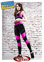 Лосины для фитнеса Real Sport FS220008-BP, черно-розовые