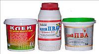 Клей ПВА(строительный, мебельный), воднодисперсионные краски, грунтовоки, растворители.